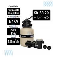 Kit Filtro Br-20 e bomba 1/4CV BPF-025 para piscinas - Sibrape