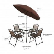 Conjunto Miami 4 cadeiras + Mesa + Guarda-sol Marrom Belfix