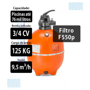Filtro F550P para Piscinas até 76 Mil Litros  Nautilus