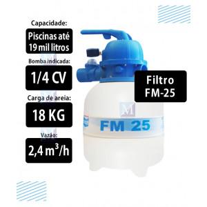 Filtro para piscinas até 19 mil Litros FM25 Sodramar