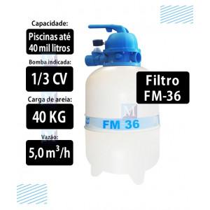 Filtro para piscinas até 40 mil Litros FM36 Sodramar