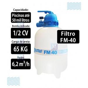 Filtro para piscinas até 50 mil Litros FM40 Sodramar