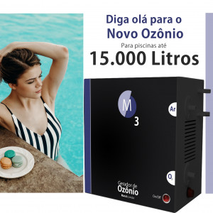 Ozônio para piscina até 15.000 litros O3M tratamento sem cloro