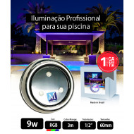 Kit 2 Leds para Piscina 9w RGB Inox 60mm